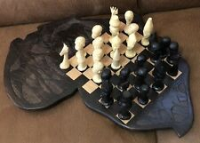 CHESS WOOD CARVED WOODEN CHESS BOARD Board Game UNUSUAL WOODEN PIECES