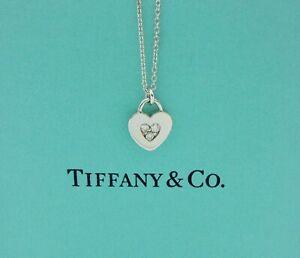 Tiffany & Co. Heart Lock Diamond 18k White Gold Pendant Necklace with Box - RARE