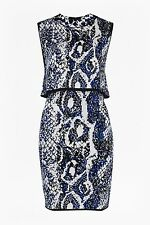 New French Connection Blue Grey Black Spotlight Boa Layer Dress Sz UK 10