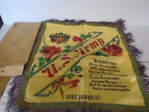 """Vintage US ARMY Fort jackon sc  Pillow Case Cover 17""""x17""""and mailer"""