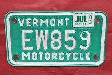 Fine, Authentic 2003, 03 VERMONT, VT Motorcycle License Plate, Tag EW859