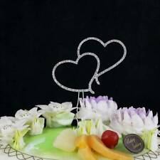 Cake Topper Romantic Crystal Silver Double Heart Cake Topper Wedding  HOT