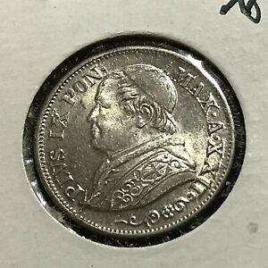 1868 ITALY VATICAN SILVER 10 SOLDI BRILLIANT UNCIRCULATED COIN