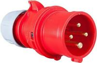 Pce - 014-6 - 16a 400v 4p Cee Industrial Plug, Ip44, Red