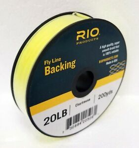 RIO 20 LB 100 YARD SPOOL OF DACRON BACKING IN CHARTREUSE FLY LINE & REEL BACKING
