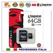 SCHEDA MEMORIA 64GB C10 MICROSD KINGSTON MICRO SD 64 GB per SAMSUNG HUAWEI PC