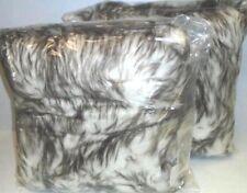 "Belton Faux Fur Throw Deco Pillows Set of 2 Gradient Tan 18 x 18"" ret $130"