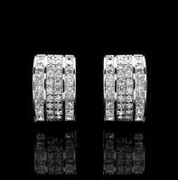 3.00CT Princess & Round Cut Created Diamond Huggie Earrings Solid 14K White Gold