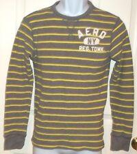 Mens AEROPOSTALE~Gray LOGO Shirt~NEW~size XS~T-Shirt Tee Striped Thermal L/S Top