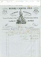 Dépt 30 - Nimes - Belle Entête A La Boule Panorama Magasin de Porcelaines - 1869