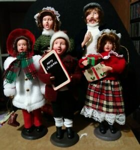 Vintage Christmas carolers lot of 5 old fashioned family singing Carol's