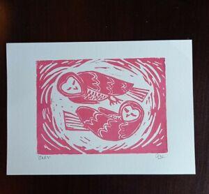 "Original""Owls"" lino print on cartridge paper. lino cut. Impressionist A4"