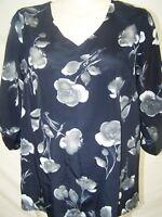 Blue Floral Print Hi-Lo Asymmetrical 3/4 Sleeve V-Neck Top Womens Sz Medium 8 10