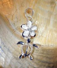 9/10MM HAWAIIAN SOLID 925 STERLING SILVER BRUSH SATIN PLUMERIA TURTLE CZ PENDANT