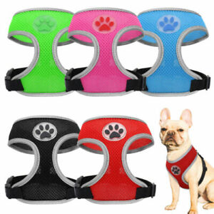 Cute Paw Soft Mesh Dog Harness Reflective Pet Cat Vest Black Red Green Pink Blue