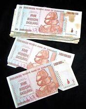 100 x Zimbabwe 5 Billion Dollar banknotes-2008/AA&AB/DAMAGED CONDITION BUNDLE