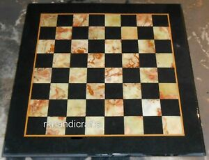 Different Pattern Marble Coffee Table Top Black Chess Board Table Size 24 Inches