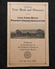 1929 LAKE COMO BEACH PROPERTY OWNERS ASSOCIATION YEAR BOOK & DIRECTORY GENEVA WI