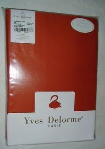"Yves Delorme Triomphe Coral 18"" Fitted Sheet 75x85 Orange 100% Cotton Sateen"
