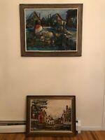 Set of 2 AJ CAMURATI Vintage Artwork Original Paintings Oil on Canvas / Board