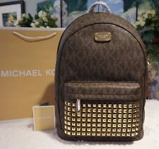 NWT MICHAEL Michael Kors Jet Set STUD LARGE Backpack PVC/Leather BROWN MSRP $398