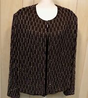 SCALA Vintage Women's Silk Sequin Beaded Jacket Top Size 2X Black  Holiday