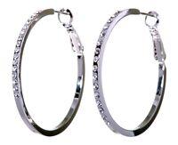 """Swarovski Elements Crystal 1 1/2"""" Fine Hoop Earrings Rhodium Authentic New 7217u"""