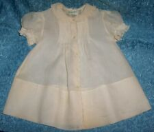 Vtg FELTMAN BROS Handmade White CHRISTENING BABY DRESS Pin Tucks Embroid LOVELY