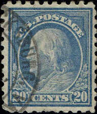 #438 1914 20c PERF 10 ISSUE USED-VF/XF LITE CANCEL