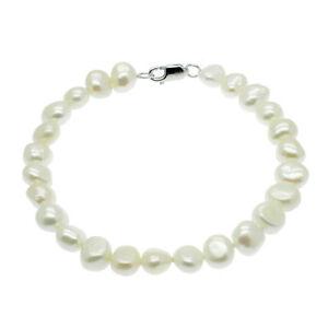 Baroque Pearl Bracelet Sterling Silver Freshwater Pearls White Black or Pastel