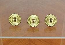 Three Vintage Brass Art Deco Small Miniature Drawer Pulls Accent Decorations