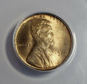1909 VDB Lincoln Wheat Cent 1C BU MS65RB Graded by ANACS - 1736