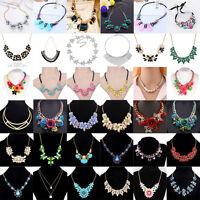 Fashion Charm Chunky Crystal Statement Bib Chain Choker Pendant Necklace Jewelry