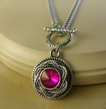 RUBY RED Stainless steel double chain snap button pendant Necklace women jewelry