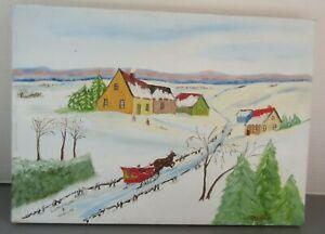 Old Vintage Canadian Folk Art Oil Painting Winter Sled Scene Lamontagne Mercure
