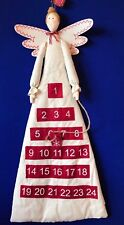 NEW Christmas Fabric Angel Advent Calendar 24 day countdown Cream Red Padded