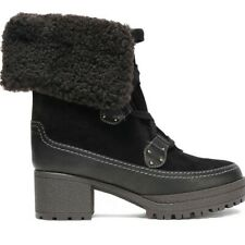 SEE BY CHLOÉ Verena Lace-up Shearling & Suede Black Boots EU 41 / U.S 11 EUC