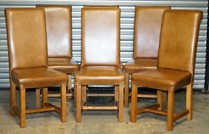 SOHO HALO BROWN LEATHER DINING CHAIRS X6