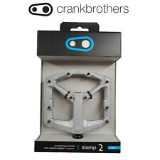 Crank Brothers Stamp 2 Raw Silver Large Alloy Platform 10 Pins Pedals MTB Bike