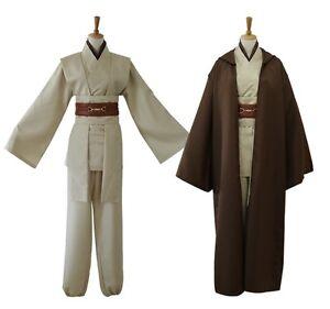 Jedi Knight Adult Obi Wan Kenobi Costume Cloak Halloween Cosplay Brown Wars Star