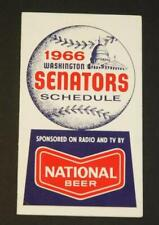 1966 Washington Senators Baseball Pocket Schedule - National Beer