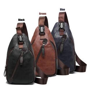 Herren Leder Die Brust-Pakete Sling Bag Rucksack Umhängetasche Schultertasche