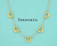 TIFFANY&Co Five Open Hearts Necklace Peretti 18k Yellow Gold w/BOX NN