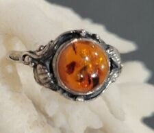 Vintage Baltic Amber Sterling Silver 925 Ring