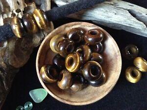 Tigers Eye Dread Beads 5mm Hole ~ Set of 3 Dreadlock Crystal Gemstone Healing UK