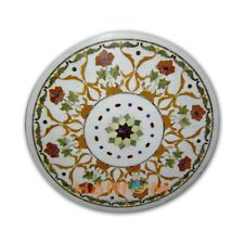 20'' Round White Marble Center Table Top Floral Hallway Mosaic Inlay Decor W319