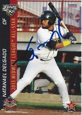 Natanael Delgado Burlington Bees 2015 Midwest League All Star Game Signed Card