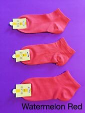 3 Pairs Women Ladies Casual Dress Cotton Rich Ankle Low Cut Socks W Red Size 2-8