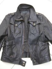 Ladies NEXT brown real leather JACKET COAT size UK 16 14 biker flying bomber