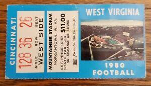 West Virginia Cincinnati Football Ticket Stub 9/6 1980 Don Nehlen Debut 1st Win